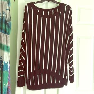 Tops - Black white horizontal striped comfy work tunic